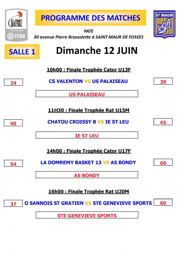 PROGRAMME MATCHES Dimanche salle 1