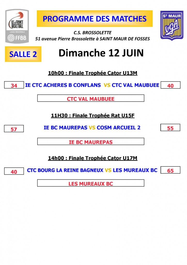 PROGRAMME MATCHES Dimanche salle 2