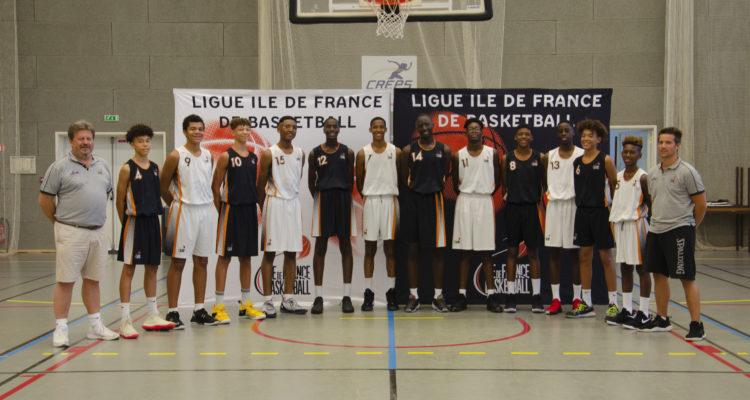 De gauche à droite : Philippe CABALLO (Vice-Président de la Ligue Ile de France de Basketball, responsable du Pôle Formation & Emploi), Nolan TRAORE, Noah PENDA, Tidjane SALAUN, Isaac KAPANGALA, Mohamed DIAWARA, Djibril SINITAMBIRVOUTIN, Gollé DEMBELE, Mathias BOLO, Elidjah LAMART, Bala FOFANA, Pacôme DADIET, Kylian MPETE et Loïc CALVEZ (CTF) - Absents: Nolan GUILLAUME et Gaëtan LE BRIGANT (CTS)